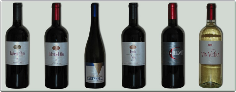 Alcuni vini dell'Eno Agriturismo Gallina Giacinto a Santo Stefano Belbo