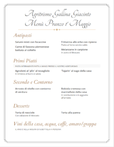 Menù Pranzo 1 Maggio