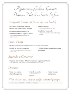 Menù Pranzo Natale e Santo Stefano 2017